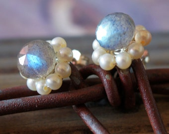 blue green gold flash Labradorite Pearl Sterling Silver post Stud Earrings