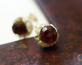 Rough canary yellow Diamond red Garnet Sterling Silver stud earrings