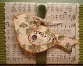 Old Fashioned Holly Christmas Bird Tag Set with Vintage Sheet Music Wings