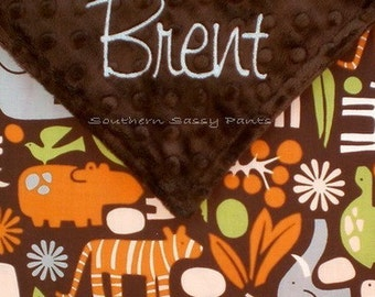 Baby Boy Blanket - 2D Zoo Chocolate and Minky Blanket , Personalized Baby Boy Minky Blanket , LIMITED but still available
