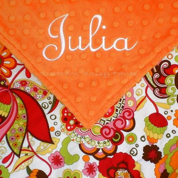Personalized Toddler Blanket for Girls Minky and Mirabelle 36x40