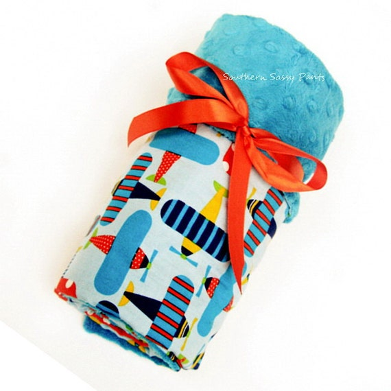 Baby Boy Blanket , Turquoise Minky Dot and  Planes Organic Cotton , Blanket for Baby Boys - In Stock and Ready To Ship
