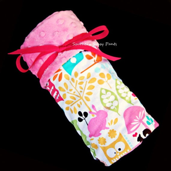 Baby Girl Blanket, Pink Minky Dot and Forest Animals for Baby Girls - Lovie Size - In Stock and Ready To Ship