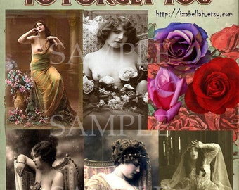 Instant Digital Download - Digital Collage Sheet - Beautiful Vintage Victorian Women - Journaling - Mixed media - tRYiNg tO fORgEt yOu