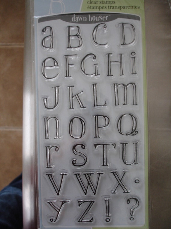 set of repositionable rubber stamps stamp lowercase uppercase handinked alphabet dawn houser