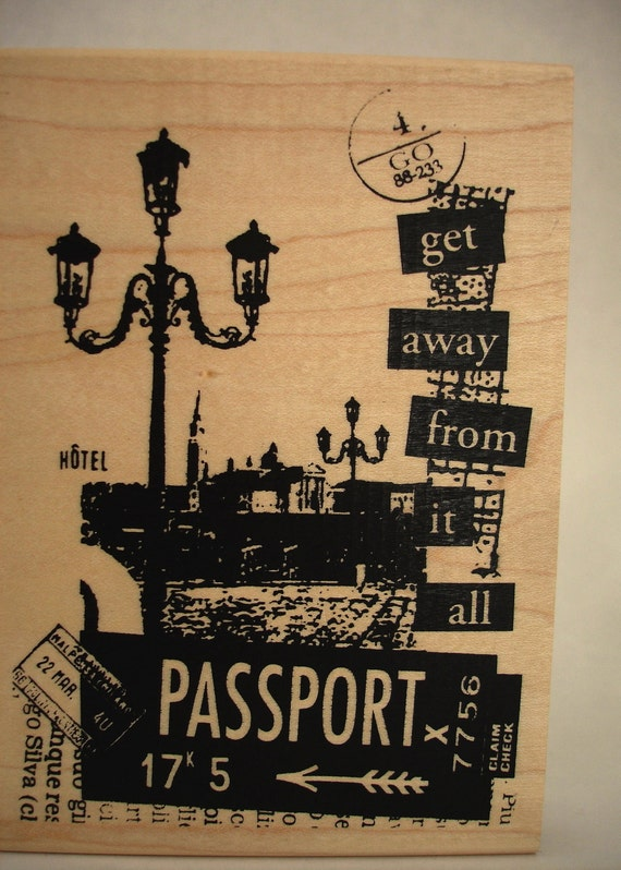 passport travel collage rubber stamp