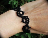 Tatted Lace Bracelet - Journey - Black