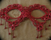Tatted Lace Mask - Such A Sad Love - Embellished Red