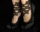 Tatted Lace Ankle Corsets - Lace Maille - Black and Crystals
