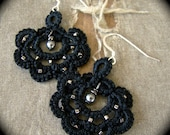 Tatted Lace Earrings - Scroll