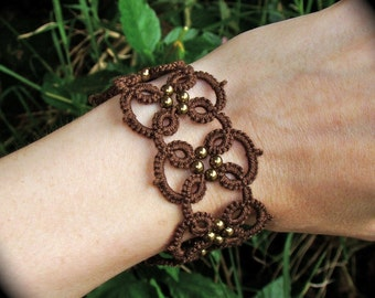 Tatted Lace Bracelet - Quadra in Brass