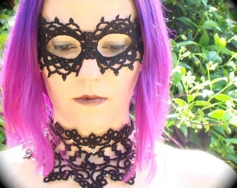 Tatted lace Mask - The Power Of Voodoo - Black