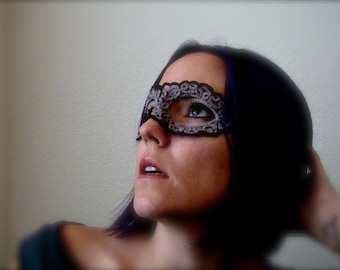 Tatted Lace Mask - You Remind Me Of The Babe - Black and Gray
