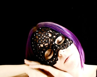 Masquerade Mask- Tatted Sequin and Crystal Lace Mask
