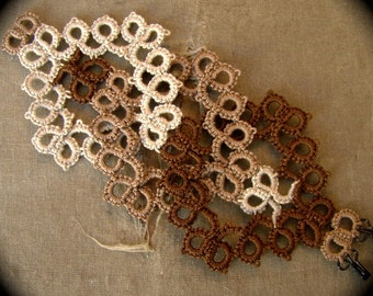 Tatted Lace Cuff Bracelet - Interwoven - Sepia Tones
