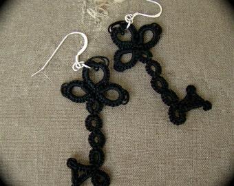 Tatted Lace Key Earrings - Skeleton Keys