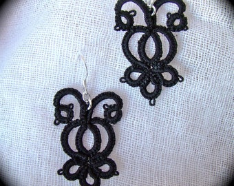 Tatted Lace Earrings - The Night Garden