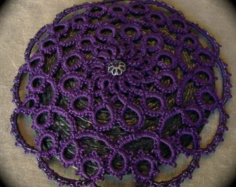 Tatted Lace Doily Fascinator Hairpiece - Purple on Black