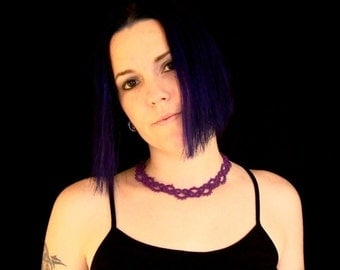 Tatted Lace Choker Necklace - Simple - Iris Purple