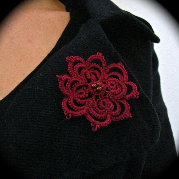 Tatted Boutonniere Lapel Pin - Large Lace Flower - Red
