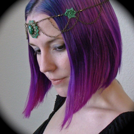 Tatted Circlet Headpiece Brass Chain And Green Lace