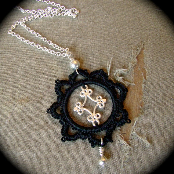 Swirled Diamond - Tatted Pendant Necklace One Of A Kind