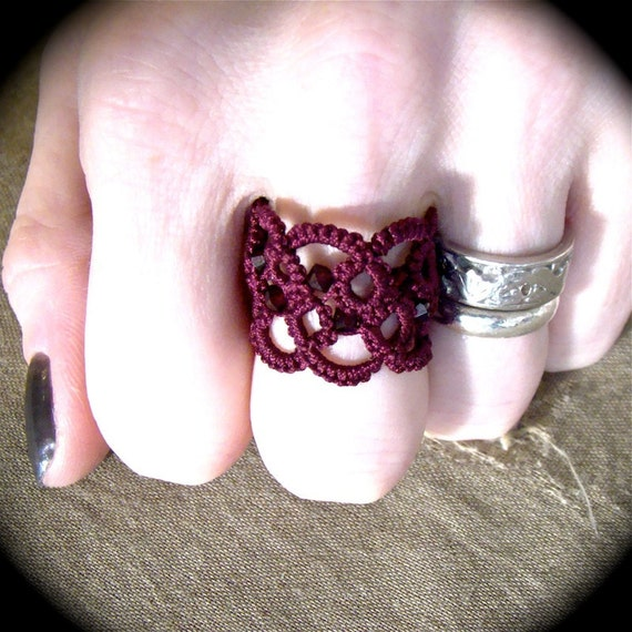 Tatted Lace Ring - Unwoven With Crystals - Burgundy