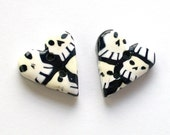Grinning Skull Set of Two Handmade Polymer Clay Buttons