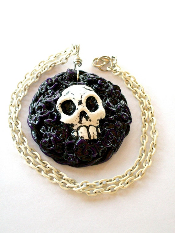 Memento Mori Hand Sculpted Polymer Clay Necklace in Purple