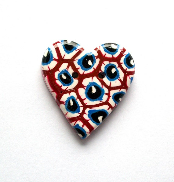 Bright Eyes Heart-Shaped Handmade Polymer Clay Button