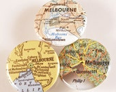 Melbourne Map Pinback Buttons