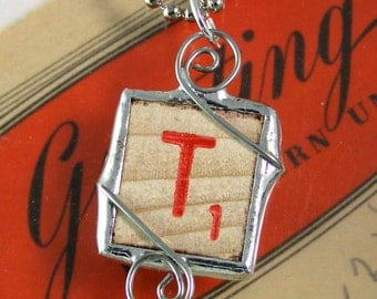 Red Letter T Scrabble Pendant Necklace