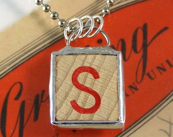 Red Letter S Pendant Necklace