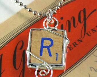 Blue Letter R Scrabble Pendant Necklace