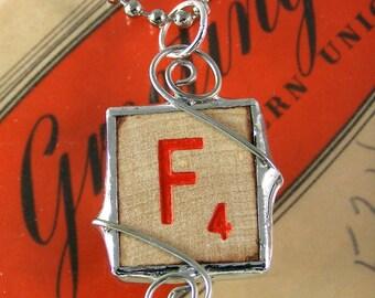 Red Letter F Scrabble Pendant Necklace