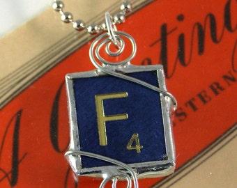 Blue Letter F Scrabble Pendant Necklace