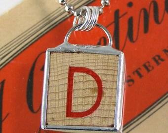 Red Letter D Pendant Necklace