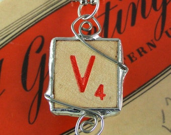 Red Letter V Scrabble Pendant Necklace
