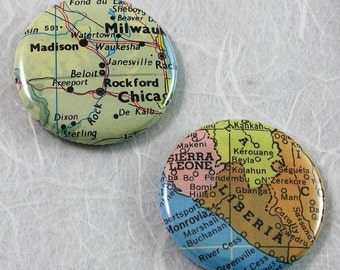 Custom Map Pinback Button - Choose a map