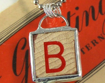 Red Letter B Pendant Necklace