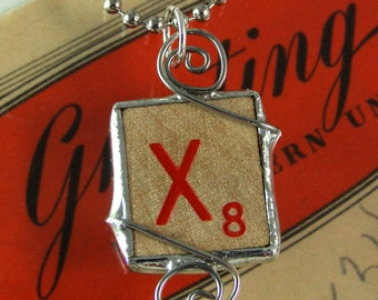Red Letter X Scrabble Pendant Necklace