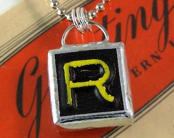 Letter R Initial Pendant Necklace