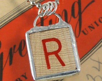 Red Letter R Pendant Necklace