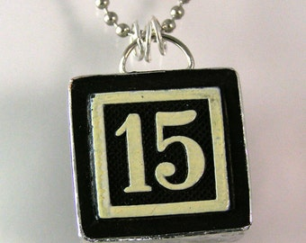 Number 15 Pendant Necklace