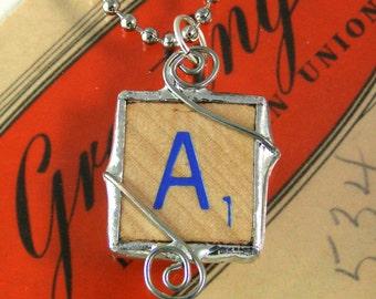 Blue Letter A Scrabble Pendant Necklace