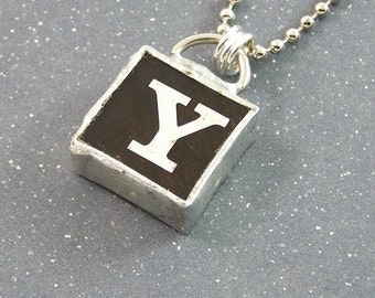 Letter Y Initial Pendant Necklace