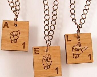 ASL Scrabble Necklace - Choose your letter