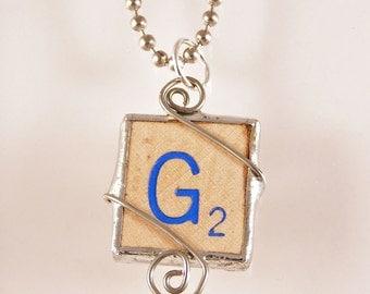 Blue Letter G Scrabble Pendant Necklace