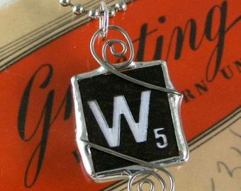 Scrabble Letter W Pendant Necklace