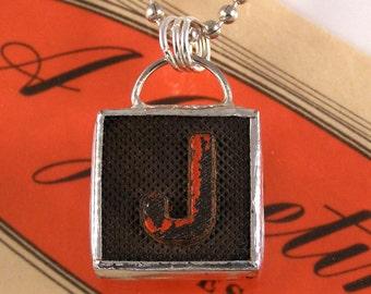 Letter J Initial Pendant Necklace